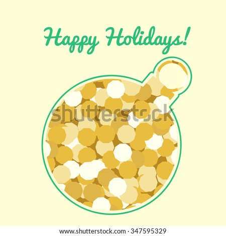 cut out silhouette of a Christmas ball ornament opening golden sparkling background and text Happy Holidays - stock vector