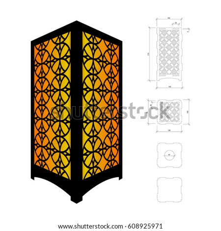 cut out template lamp candle holder stock vector 608925971. Black Bedroom Furniture Sets. Home Design Ideas