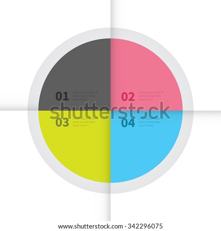 cut paper design effect in 4 colours with options / vector infographic circle presentation - stock vector