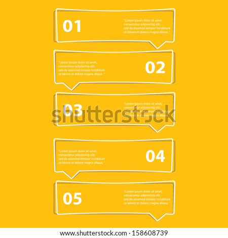 cut paper Design template on orange background / can be used for infographics / numbered banners / horizontal cutout lines / graphic or website layout vector / brochure or cover design - stock vector