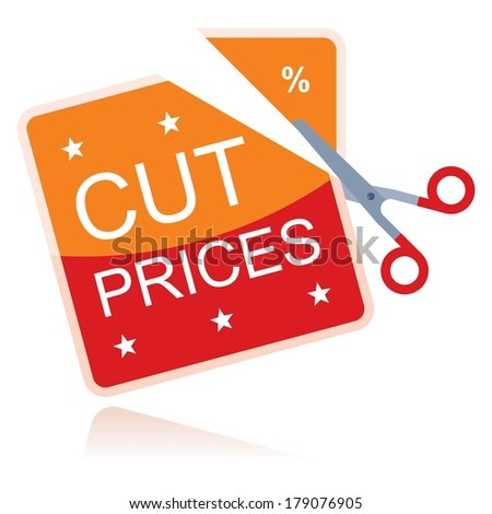 cut prices, concept with scissors  - stock vector