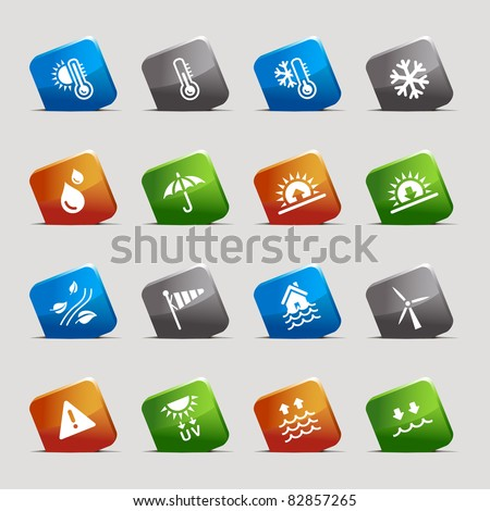 Cut Squares - Weather Icons - stock vector