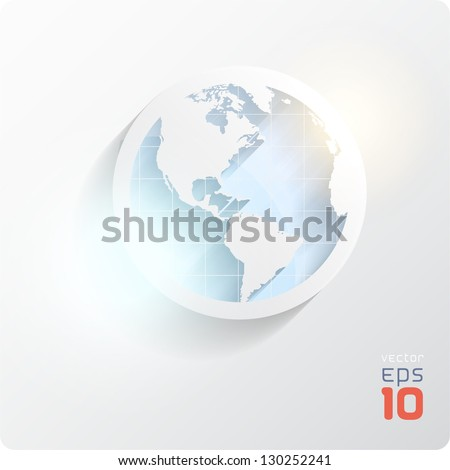 Cut the earth in blue tones. Eps10. - stock vector