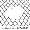 Cut wire fence. White background. - stock photo