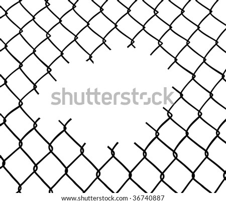 Cut wire fence. White background. - stock vector