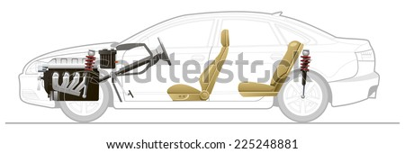 Cutaway Car Illustrations. Simple gradients only, no gradient mesh. - stock vector