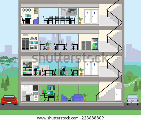 Cutaway Office Building with city background - Detailed Grouped and Layered EPS10  - stock vector
