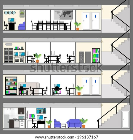 Cutaway Office Building With Interior Design Plan   Detailed Grouped And  Layered EPS10