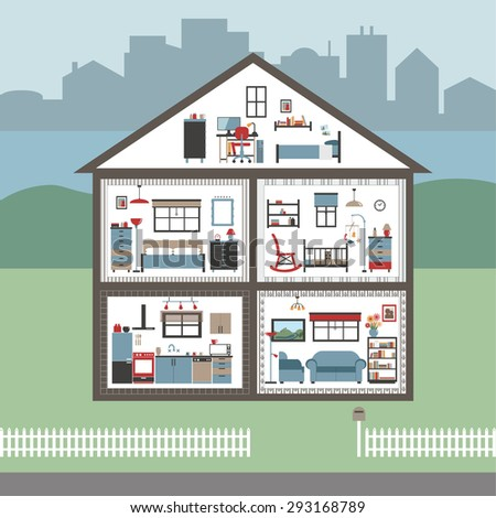 Cutaway Residential House with Furniture in Color - detailed rooms include furnishings - grouped and layered EPS10  - stock vector