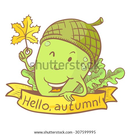 Cute acorn doodle character with marple leaf. Fall season banner - stock vector
