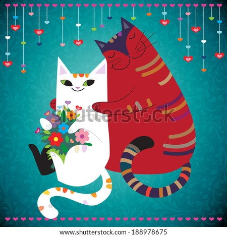 Cute adorable white girl cat holding bouquet of flowers. Big red boy cat hugging her. Love You concept. Vector EPS 10 illustration.  - stock vector