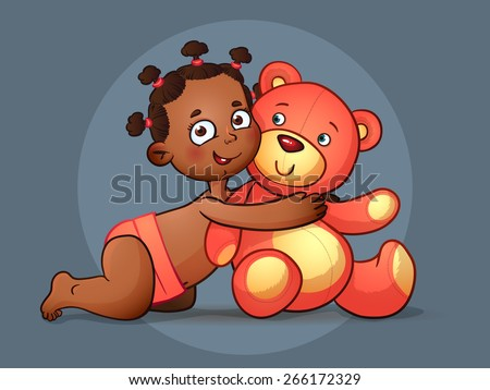 Cute African American baby girl. Happy African Child Vector Illustration and Teddy Bear. - stock vector