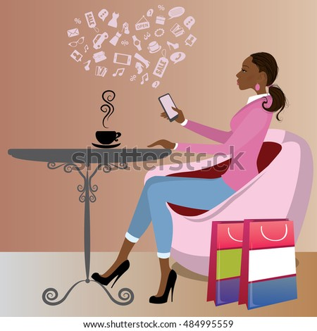 Cute african american lady after shopping is drinking coffee and on the Internet via a smart phone,vector illustration