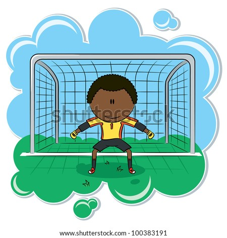 Cute African-American soccer goalkeeper on the gate - stock vector
