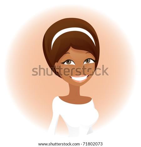 Cute african woman (vector version) - stock vector