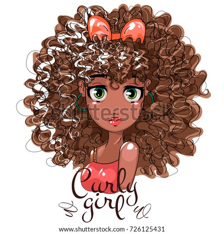 cute afro girl curly hair beauty stock photo photo vector rh shutterstock com cartoon girl with curly hair and glasses cartoon picture of girl with curly hair