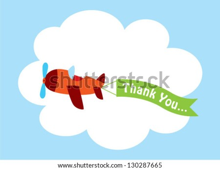cute airplane thank you tag - stock vector