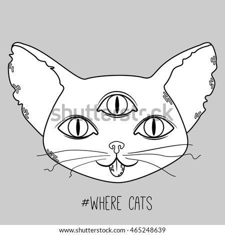 Cute alien cat head with three eyes on grey background. Vector flat illustration.