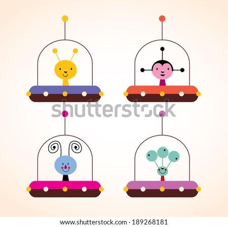 cute aliens in spaceships kids design elements set - stock vector
