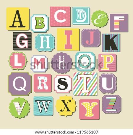 cute alphabet design. vector illustration - stock vector