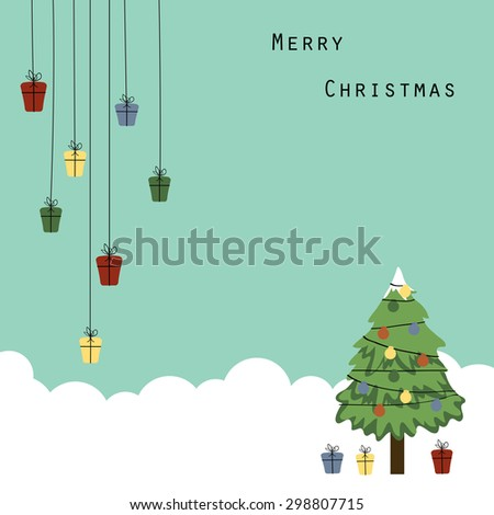 Cute and abstract christmas frame with Christmas tree - stock vector