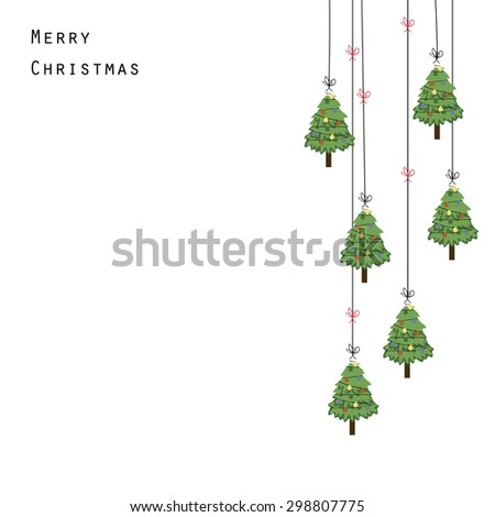 Cute and abstract christmas frame with Christmas trees - stock vector