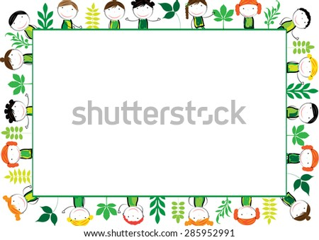 Cute and abstract frame with ecology kids - stock vector