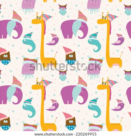 Cute and cartoon seamless vector pattern with childish animals in knitted caps ready to celebrate Christmas and New Year on bright background. - stock vector
