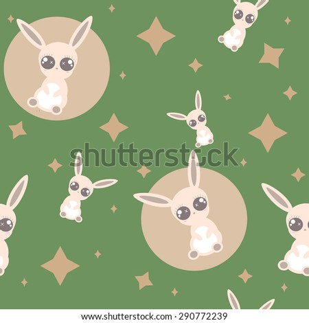 Cute and children pattern with the bunny. - stock vector