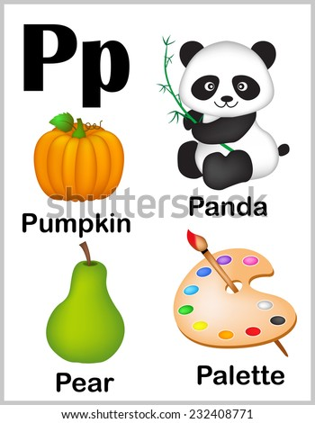 Cute and colorful alphabet letter P with set of illustrations and words printable sheet.  - stock vector