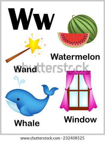 Cute and colorful alphabet letter W with set of illustrations and words printable sheet.   - stock vector