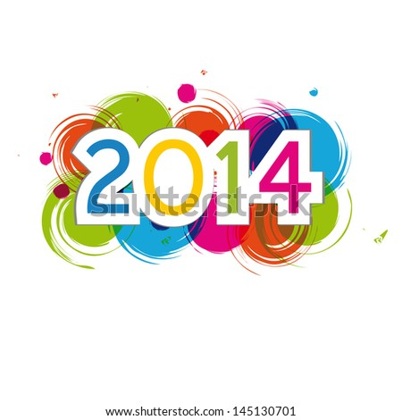 Cute and colorful card New Year 2014 - stock vector