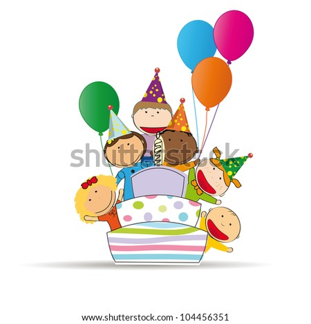 Cute and colorful card on happy birthday - stock vector