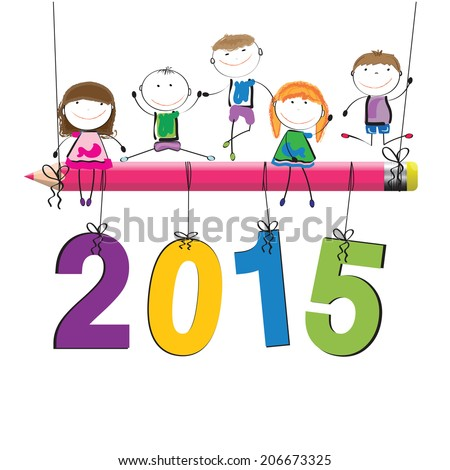 Cute and colorful card on New Year 2015 - stock vector