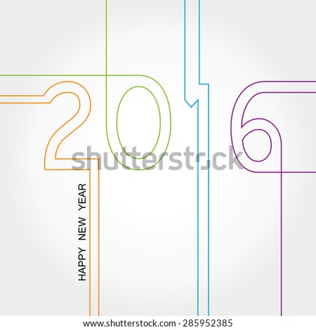 Cute and colorful card on New Year 2016 - stock vector