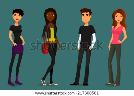 cute and colorful cartoon people in various outfits - stock vector