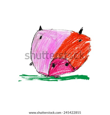 Cute and colorful children's illustration of a abstract pig - stock vector