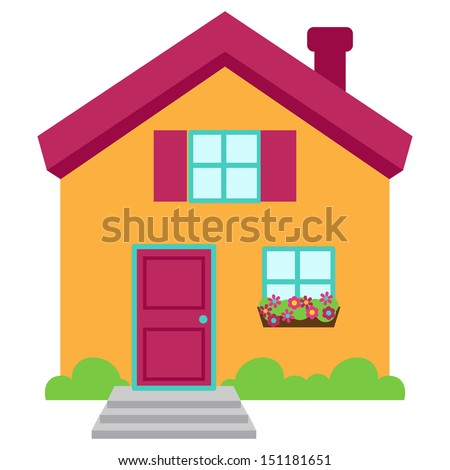 Cute and Colorful Isolated Vector Home - stock vector