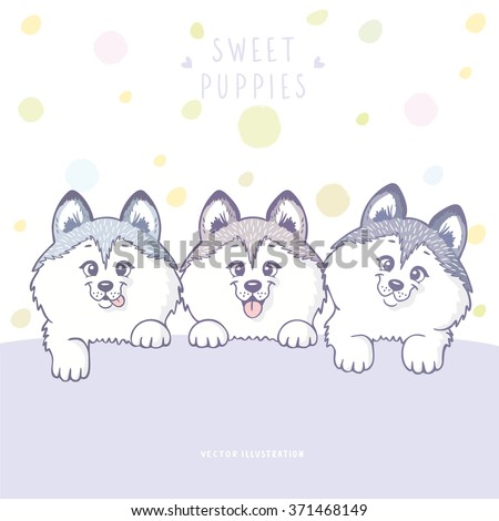 Cute and funny cartoon three puppy husky dog with place for text. Character happy three puppies. Vector illustration - stock vector