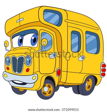 cute and funny childish cartoon school bus, stylized to human face for kids, isolated on a white background - stock vector