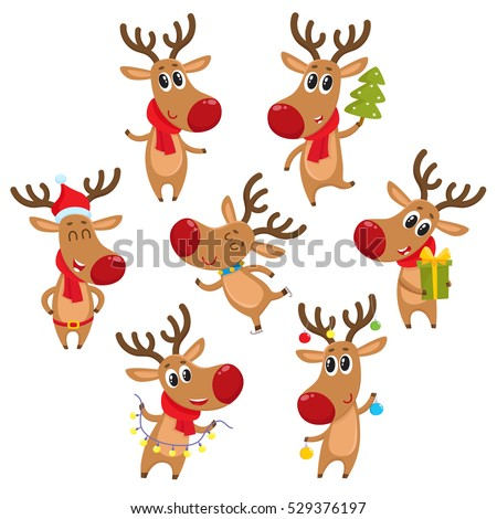 Cute And Funny Christmas Reindeers Cartoon Vector Illustration Isolated On White Background Reindeer With