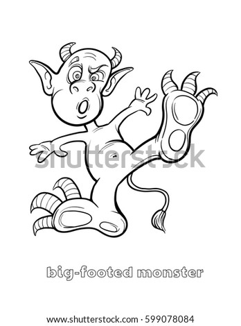 Cute Funny Halloween Monster Coloring Page Stock Vector 599078084 ...