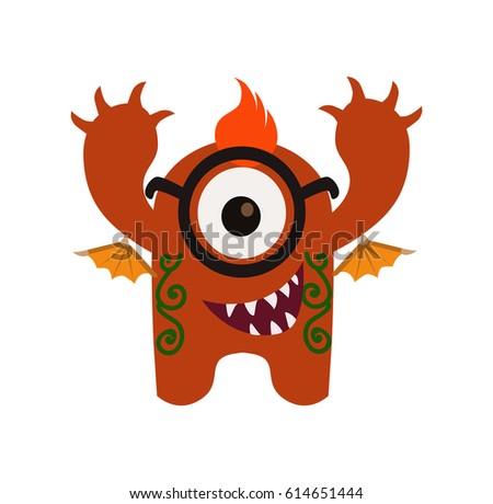 Cute Funny Monster Avatar Animated Cartoon Stock Vector 614651444
