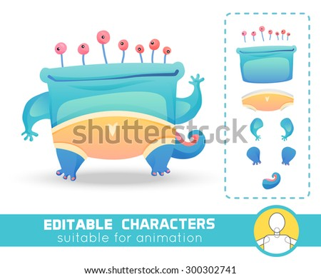 Cute and funny monster with many eyes wearing colorful yellow pants. Neutral, negative or positive editable character.  Suitable for animation, video and games. You can change color, position of body - stock vector