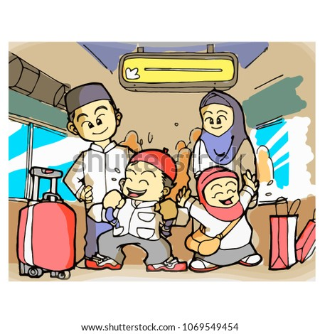 Cute And Funny Muslim Family Going Religious Vacation