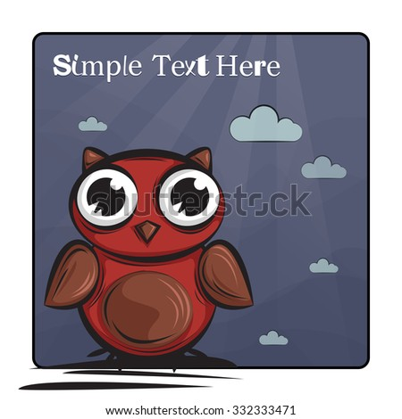 Cute and Funny owl. Icon. Character design. Card. Postcard