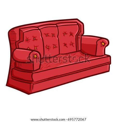 Cute And Funny Red Big Sofa For Interior   Vector.
