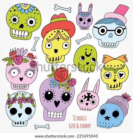 Cute and funny set of cartoon illustration skulls. Cute colorful Halloween set - stock vector