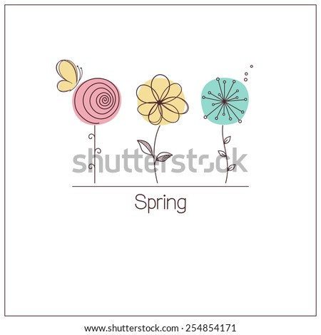 Cute and funny stylized flowers for spring design