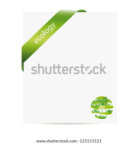 Cute and green ecology background with paper - stock vector